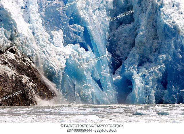 Sawyer Glacier, a tidewater glacier at the end of Tracy Arm in Southeast Alaska, USA