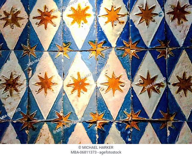 Europe, Spain, Andalusia, Seville, Real Alcazar, antique tiles, Arabian patterns