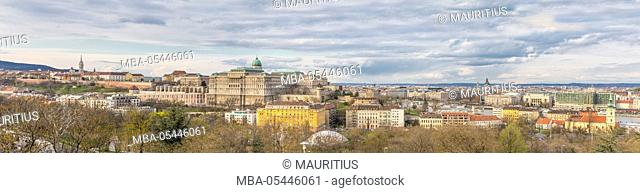 Castle district and Buda Castle, view from Buda Gellérth Hill to district Pest, panorama, Budapest, Hungary, Europe