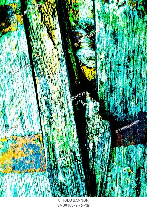 Old whiskey barrel wood, decaying. Color filtration