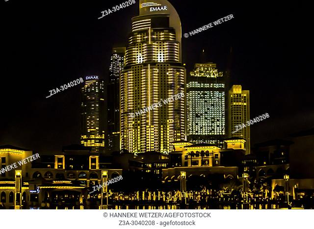 Emaar Properties building at night in Dubai, UAE
