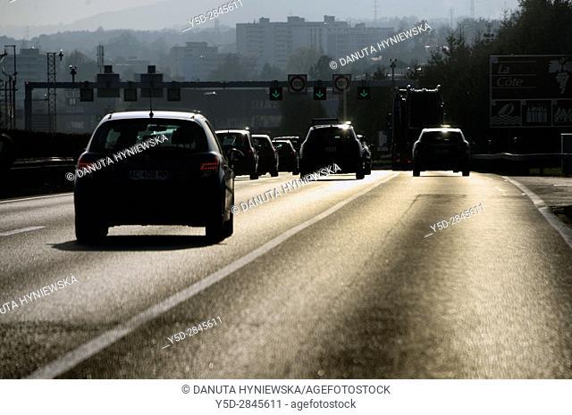 Highway Lausanne - Geneva, Switzerland, Europe