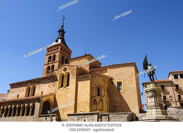 San Martin church, moorish origin with romanesque style, Medina del Campo square. Segovia city. Castilla León, Spain Europe