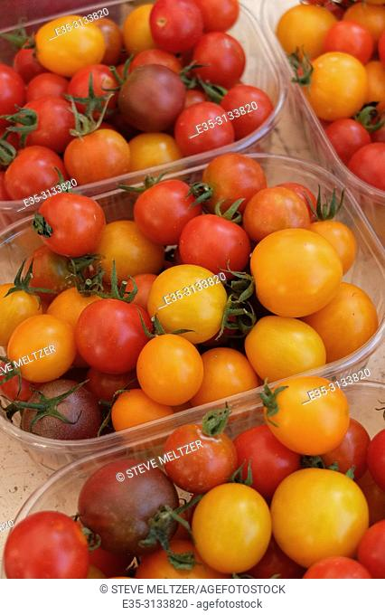 Cherry tomatoes at a fruit market in Pezenas, France