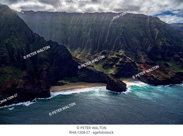 Aerial view of the rugged Na Pali Coast showing the entrance to one of the numerous deep ravines, Hawaii, United States of America