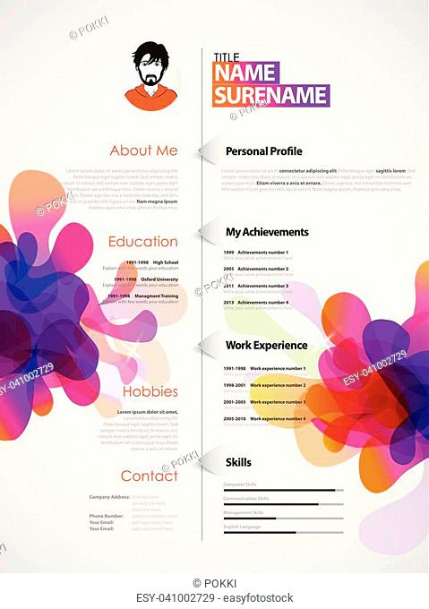 Creative, color rich CV / resume template with colorful abstract splash