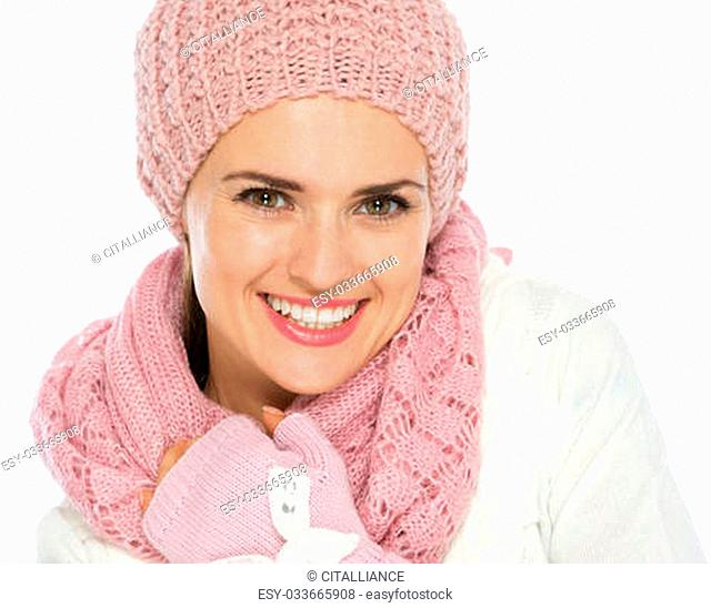 Portrait of happy woman in knit winter clothes