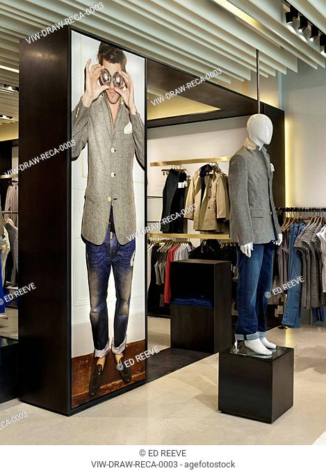 REISS STORE, D-RAW, CARDIFF, 2010, VIEW OF MANNEQUIN AND PHOTO DISPLAY OF MENSWEAR, CARDIFF, CLOTHING, Architect