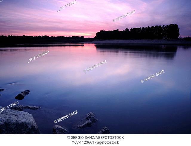 sunset on the river Ebro by utebo, zargoza, spain
