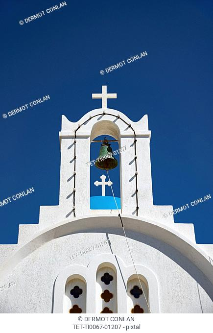 Church with bell tower in Paros, Greece