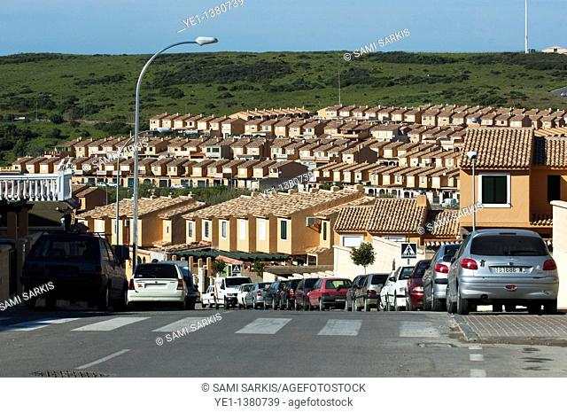 Rows of houses and rooftops, in a housing development, Algeciras, Andalusia, Spain