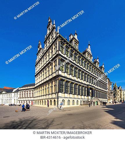Facade of the Stadthuis, Town Hall, Ghent, Flanders, Belgium