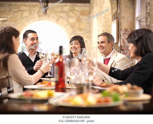 People celebrating in restaurant