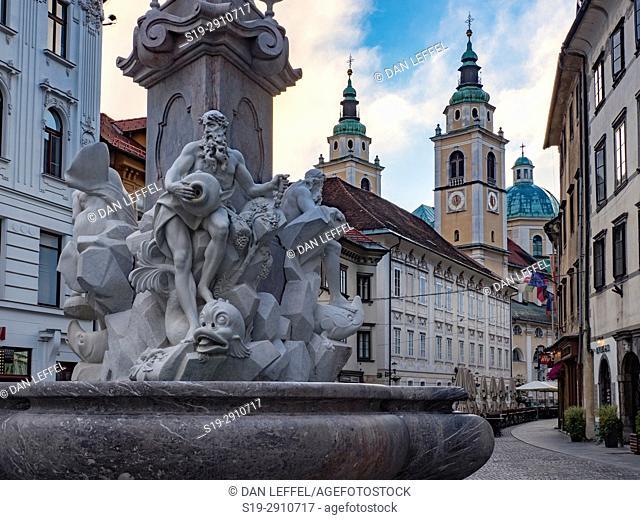 Slovenia Ljubljana Cathedral Street Scene