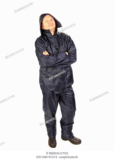 Man in waterproof coat with hood. Isolated on a white background