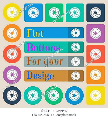 diaphragm icon. Aperture sign. Set of twenty colored flat, round, square and rectangular buttons. Vector