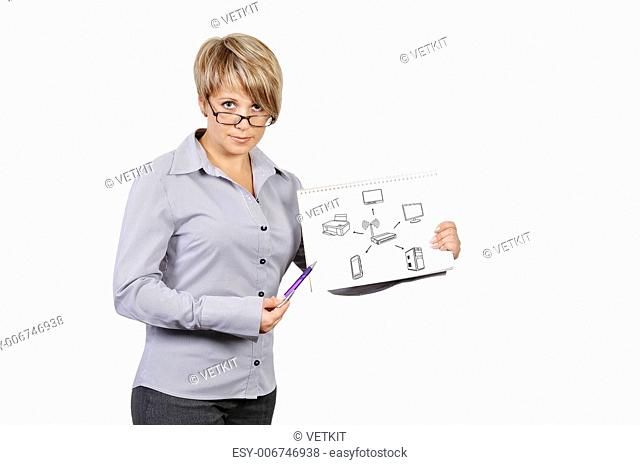 businesswoman holding poster with wi-fi scheme