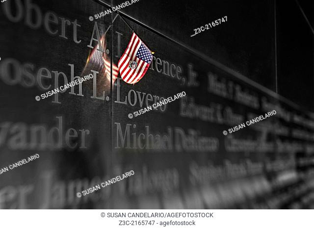 An American Flag is left as a symbol of remembrance at the Empty Sky Memorial at Liberty State Park in New Jersey