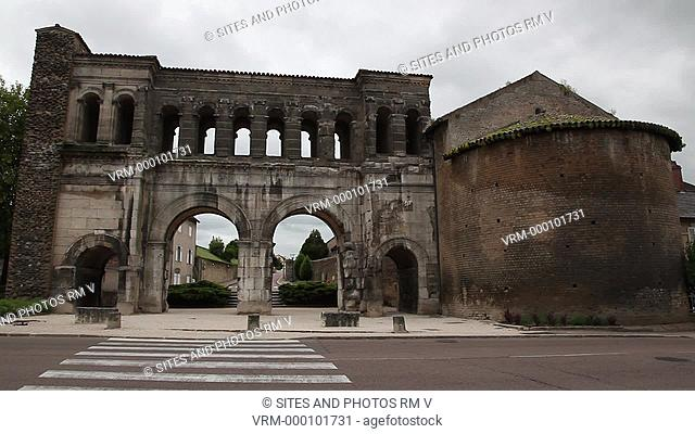 Locked Down Shot, daylight, cloudy weather. Gallo-Roman Gate of Saint Andre Porte Saint Andre, 1st century AD. The historic city of Autun was founded as a Roman...
