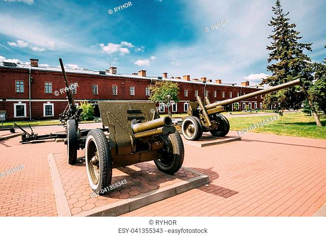 Brest, Belarus. Old Cannons In Memorial Complex Brest Hero Fortress In Sunny Summer Day