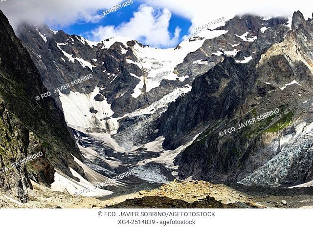 Glaciar de Miage. Macizo del Mont Blanc - Aosta. Alpes - Val d'Aosta. Italia. Europa