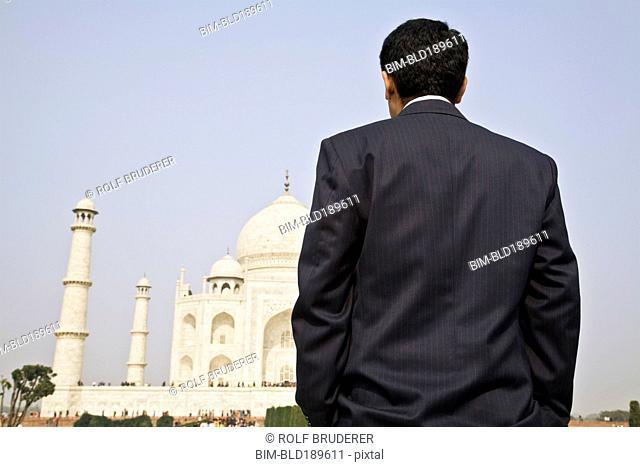 Indian businessman visiting the Taj Mahal