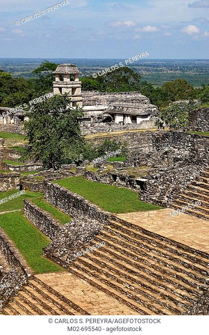 Mayan ruins, Palenque archaeological site. Chiapas, Mexico