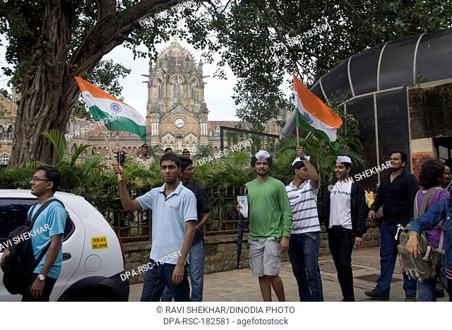 Anna Hazare supporters against corruption Mumbai Maharashtra India Asia