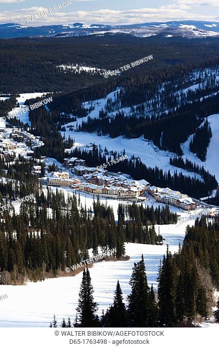 Canada, British Columbia, Sun Peaks, Sun Peaks Resort, elevated town view, winter