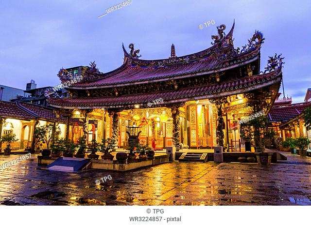 Taiwan;Taipei City;Dalong dong Security Temple;Baosheng Emperor;night view