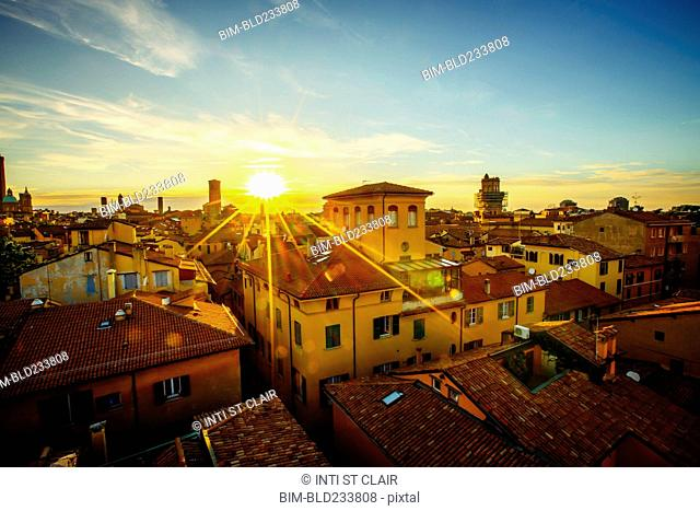 Sunset over rooftops, Bologna, Emilia-Romagna, Italy