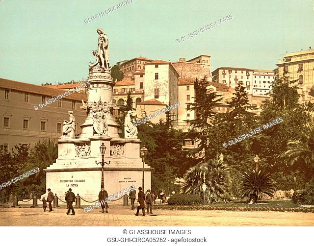 Columbus Monument, Genoa, Italy, Photochrome Print, Detroit Publishing Company, 1900