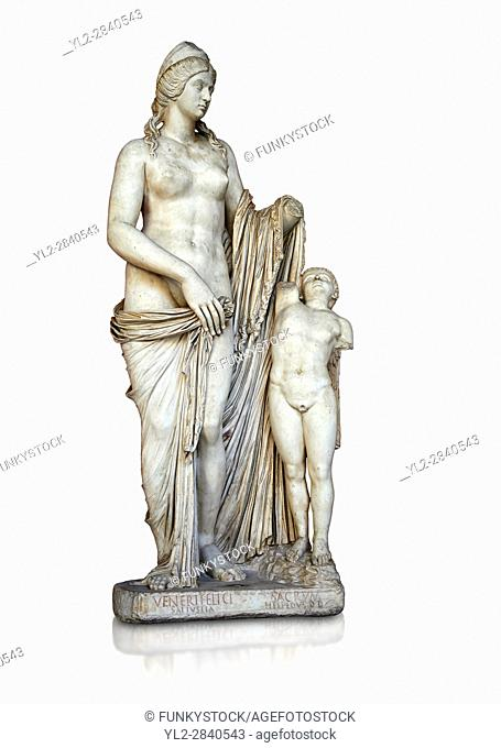 2nd century Roman statue of Venus known as the Venere Felice, inspired by the Hellenistic stsue of Aphrodite of Cnidus made by Greek sculptor Praixiteles in the...