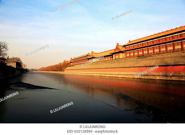 BEIJING - DECEMBER 22: The walls and frozen rivers in the Forbidden City on december 22, 2013, beijing, china