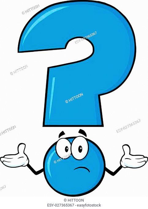 Blue Question Mark Cartoon Character With A Confused Expression
