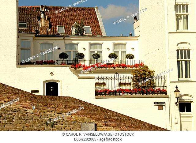 White building, OL Vrouwewal in old city of Maastricht