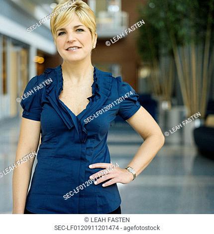 Portrait of woman in hallway