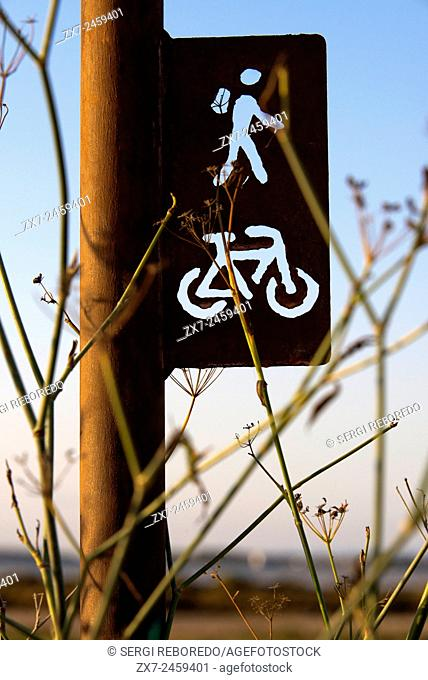 Cycle route sign. Pudent Lake. Formentera. Balearic Islands, Spain, Europe