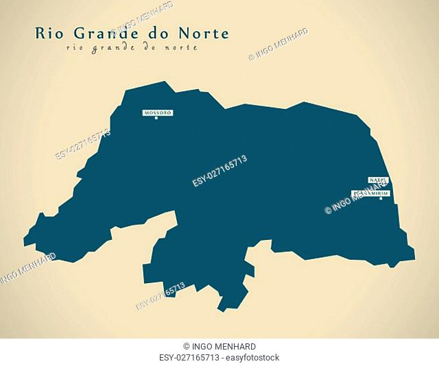 Modern Map - Rio Grande do Norte BR Brazil Illustration