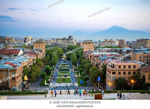 Armenia , Yerevan City , Skyline from the Cascade Complex, Ararat mountain