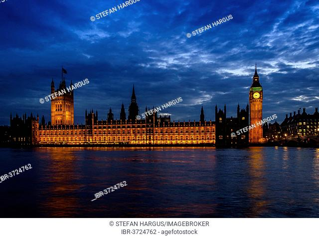Palace of Westminster with Elizabeth Tower, previously called Clock Tower, Big Ben, Westminster Bridge, River Thames in the eveing light, London, London region