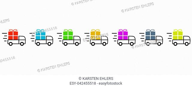 7 Transporter Icons Showing Fast Delivery Of Colorful Christmas Or Birthday Presents