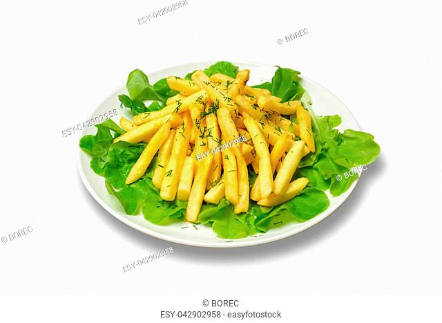 French fries with lettuce leaves on plate. White background