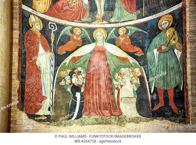 Romanesque frescoes inside the dome of the Romanesque Baptistery, Parma, Emilia Romagna, Italy