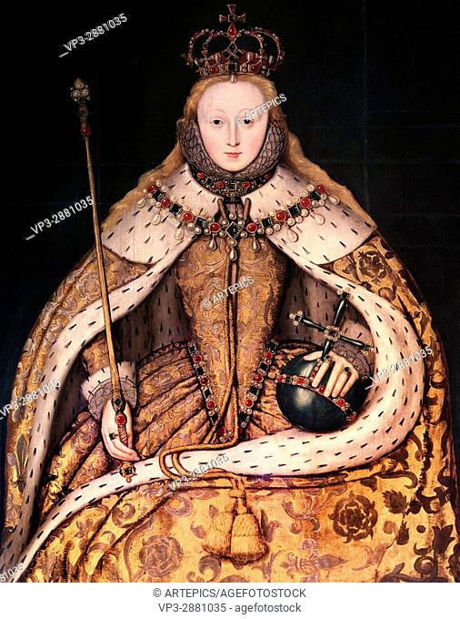 English school. Portrait of Elizabeth I in coronation robe, in the early years of her reign . National Gallery - London