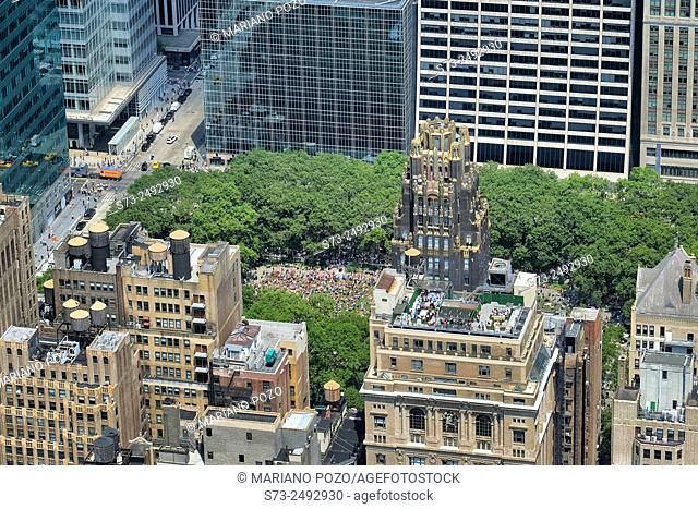 People in Bryant Park view from Empire Sate, Manhattan, New York, USA