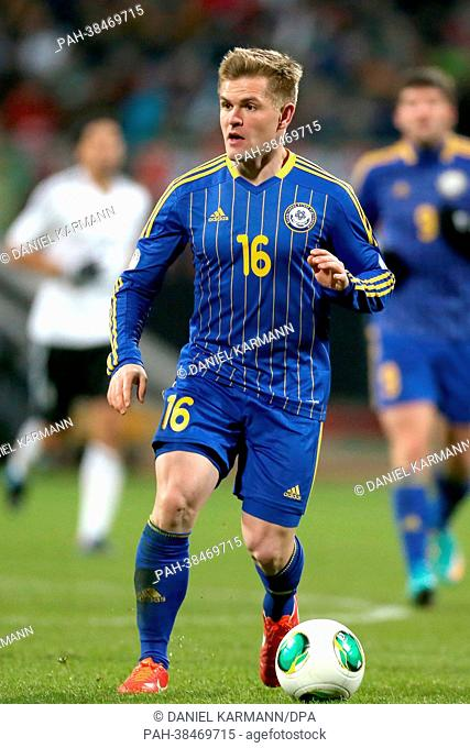 Genrikh Shmidtgal of Kazakhstan plays the ball during the FIFA World Cup 2014 qualification group C soccer match between Germany and Kazakhstan at Nuernberg...