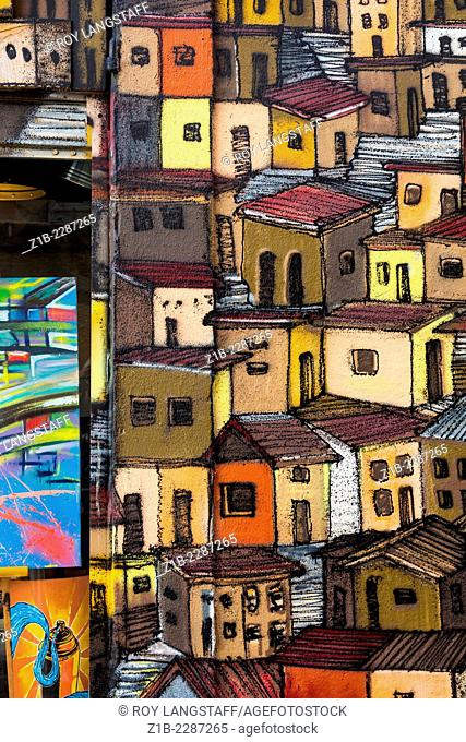The houses of the Panier district in cartoon form, Marseille, France