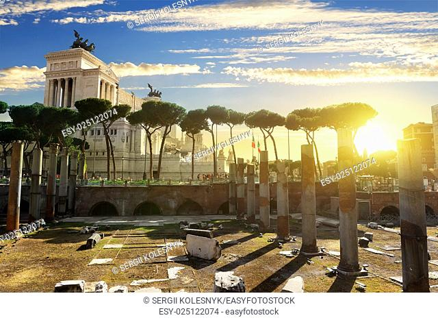Vittoriano and Forum Traiani in Rome at sunset, Italy