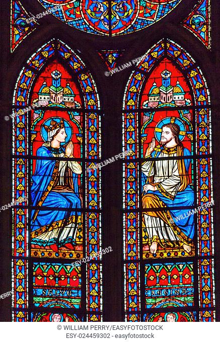 Jesus Christ Mary Stained Glass Notre Dame Cathedral Paris France. Notre Dame was built between 1163 and 1250AD